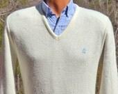 70s vintage v-neck sweater PENGUIN golf grand slam white ivory munsingwear Small preppy