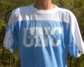vintage 70s UNC t-shirt tarheels basketball jersey university north carolina blue nylon Large Medium tar heels