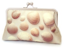 Clutch bag, shell purse, Scottish sea shells, beach wedding, bridesmaid gift, printed silk bag, SEASHELLS