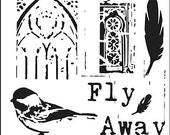 Fly Away 6x6 Crafters Workshop Stencil (526S) - For cookies, cake, cardmaking, mixed media, paper-arts, chalking, scrapbooks
