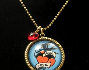 True Love 25mm Round Necklace with Red Heart Bead Tatoo Art