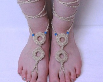 SALE Barefoot sandals lace up anklet beads Boho Gypsy turquoise silk