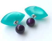Double Sided Earrings - vintage lucite moonglow studs - Purple and Teal Pod Bead Backings