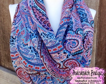Spring Scarf, Infinity scarves, Summer scarves, Blue paisley Scarves, lightweight scarf, Women's Spring Scarves, Rayon scarf, Wide and Long