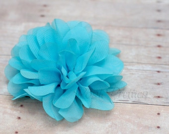 Sky Blue Flower Hair Clip - Petal Flower- Flower Hair Clip - Alligator Clip - With or Without Rhinestone Center