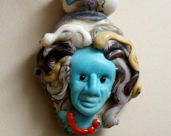 Blue Medusa lampwork glass goddess bead by Cleo Dunsmore Buchanan 4 Grama Tortoise goddess art glass jewelry pendant