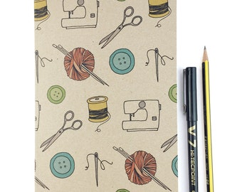 Craft A5 plain notebook - illustrated knitting , sewing , stitching , buttons - eco friendly recycled notebook