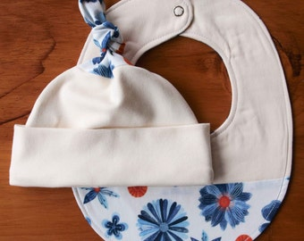 Organic Baby Hat and Bib Gift Set in BLOOMS; Red, White and Indigo Blue Floral Baby Cap and Drool Bib Gift Set by Organic Quilt Company