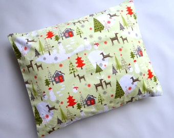 The Perfect Toddler Pillow CASE ONLY ... Original Design by Sew Cinnamon ... Riley Blake Merry Little Christmas Sage Green Flannel