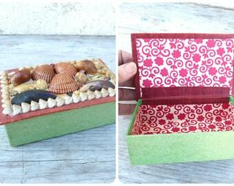 Vintage Antique 1930/1950 old French Shell box Seaside souvenir Noirmoutier