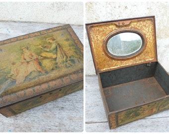 Reserverd to Karen Antique old French 1900/1930  lithograph trinket box with mirror inside