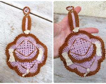 Vintage Antique 1850/1900 Victorian French crochet purse aumoniere porte Louis wallet