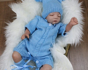 Knitting pattern for boys romper suit, onesie, 0-3mths,  baby knitting patterns, PDF 312 digital download