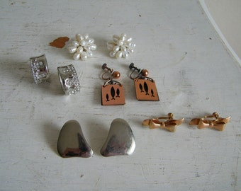 5 Pairs Clip on Earrings New & Vintage 6637