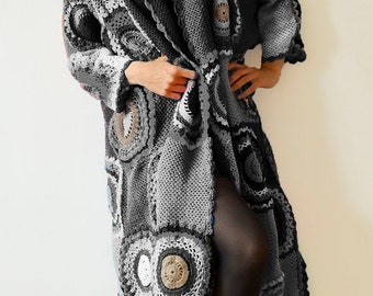 Extra Long Plus Size Cardigan Sweater Long  in Grey/Beige/White/Black - MADE TO ORDER