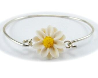 Daisy Bracelet Sterling Silver Bangle - Daisy Jewelry