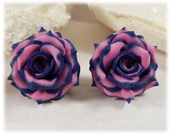 Blue Tip Pink Rose Earrings Stud or Clip On