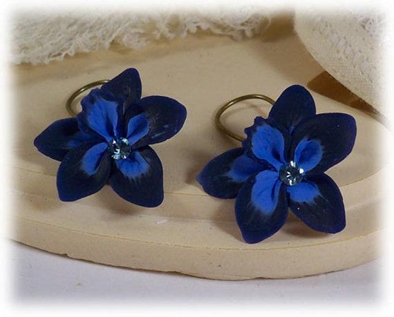 Blue Orchid Drop or Dangle Earrings