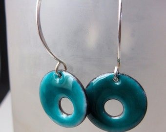 Circle Earrings, Blue Earrings, Enamel Earrings, Sterling Silver Earrings