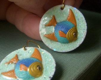 Tropical Fish Earrings, Colorful Fish Earrings, Enameled Fish Dangle, Aquarium Fish, Angel Fish Earrings, Beach Jewelry, Hand Enamel