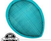 1 - Teal Blue - Teardrop Hat Base - Sinamay Straw - Fascinator - Hat Foundation - Millinery