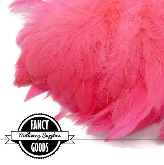 Hot Pink - Coque - Strung Rooster Saddle - Feathers