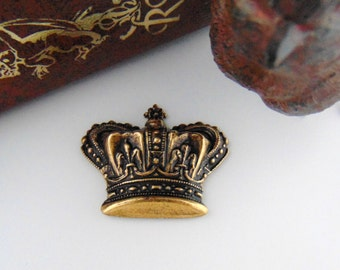 CLOSEOUT SALE Antique Brass Royal Crown Stamping - Jewelry Ornamental Findings (C-1101) #