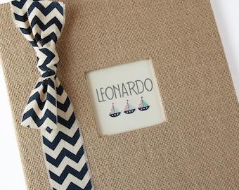 Baby Memory Book, Nautical, Burlap, Navy Chevron Ribbon, Sailboat