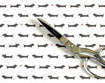 Dachshund Fabric / Doxie Fabric / Dog Print / Fat Quarters / Black and White Fabric / Kona Cotton