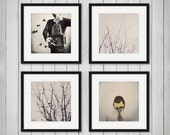 Disounted Set of Four Photographs, Minimal, Surreal, Gray, Black and White, Portrait, Nature Photography, Bedroom Decor, Fine Art Prints