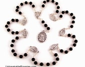 Seven Sorrows of Mary Servite Rosary Beads In Black Onyx by Unbreakable Rosaries