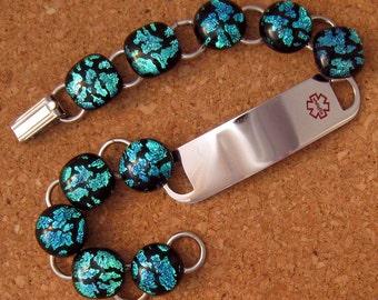 Dichroic Bracelet - Medical Alert Bracelet - Dichroic Jewelry - Fused Glass Jewelry - Medical Alert Jewelry