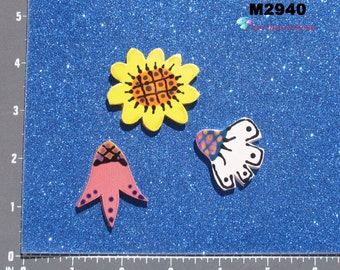 3 Flowers - Kiln Fired Handmade Ceramic Mosaic Tiles  to use in your projectsM2940