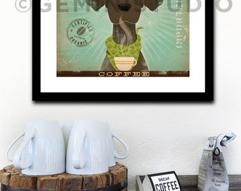 Brown Dog labrador Coffee Company giclee archival signed print by stephen fowler