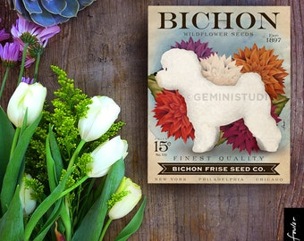 Bichon Frise Dog Seed Company dog illustration graphic art on canvas panel by stephen fowler Pick A Size