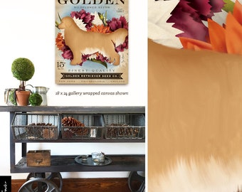 Golden Retriever Dog Seed Company dog seed packet artwork on gallery wrapped canvas by Stephen Fowler