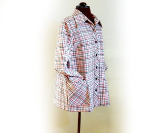 Funky Vintage 70s Poly Shirt Jacket, Big Collar Shirt, Big Pocket Shirt, Button Up Shirt Jacket, Red, White, Blue Plaid Style