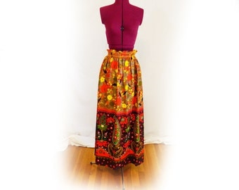 Vintage 60s, 70s, Floral and Paisley Skirt, Long, Funky Maxi Skirt, One of a Kind, Long Skirt, Colorful Skirt, Festival Skirt, Psychedelic