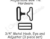 "5 Sets Bow Tie Hardware Clips - Rectangle Slide Adjuster, Hook and Eye - 3/4"" Black Metal - SEE COUPON"