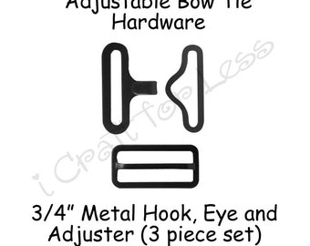"5 Sets Bow Tie Hardware Clips - Rectangle Slide Adjuster, Hook and Eye - 3/4"" Black Metal - SEE COUPON"