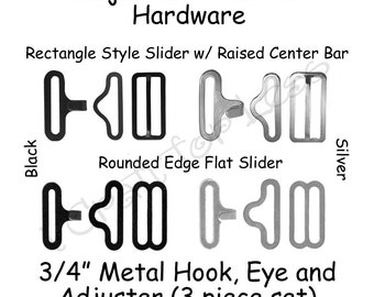 "200 Bow Tie Hardware Supplies Clips - 3/4"" Slide Adjuster, Hook and Eye - Select Style and Color - SEE COUPON"
