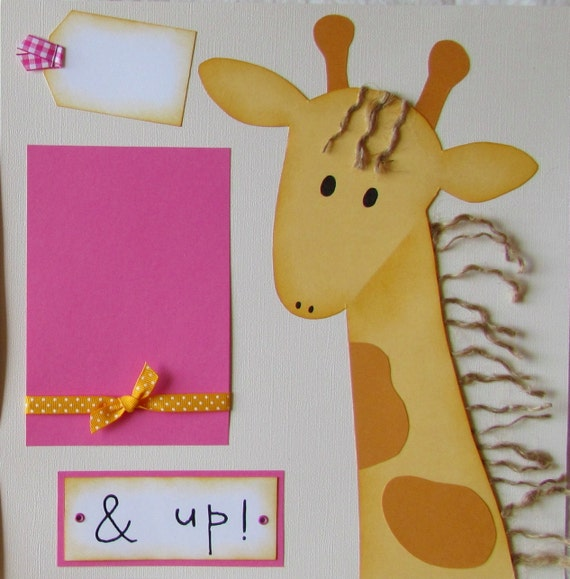 GROWING UP and UP giraffe 12x12 Premade Scrapbook Pages BoY GiRL -- available in many colors