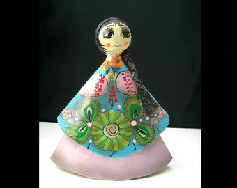 """Mexican Folk Art Doll Figure, Paper Mache, 6"""" tall, Vintage 1960-70s, Hand Painted, Flowers, Black Braided Hair, Blue and Purple"""
