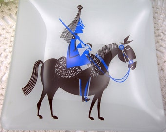 """Bent Glass Dish, 5-1/2"""" Square, Mid Century Modern, Vintage c1960s, Blue Soldier on Brown Horse, Collectible Glass"""