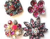 4 Jeweled Magnets. Fancy Neodymium-PINK MULTIS