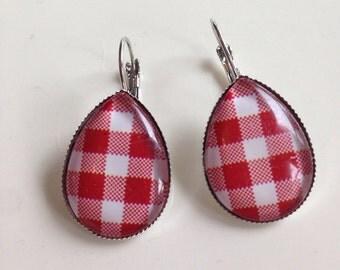 Red Gingham dangle earrings,Plaid Dangle Retro Earrings, pin up earrings