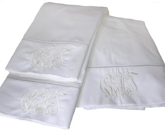 600 Thread Count Sheets in White, Monogrammed - King Size