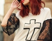 ON SALE Poor Pitiful Pearl Grounded Black & White Cross Tee w/ Bell Sleeves
