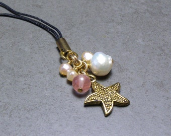 Keychain Zipperpull Starfish Charm with Pearls and Quartz Beads