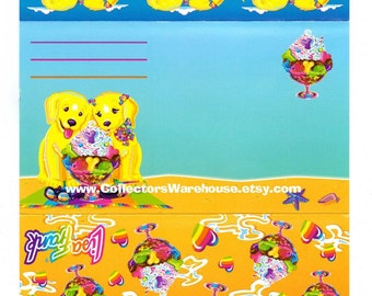 Lisa Frank Postalette Casey & Candy  fold up stationery letter golden retriever dogs puppies beach vacation ice cream